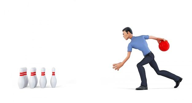 3d biznesmen bawić się kręgle. na białym tle zawiera ścieżkę przycinającą