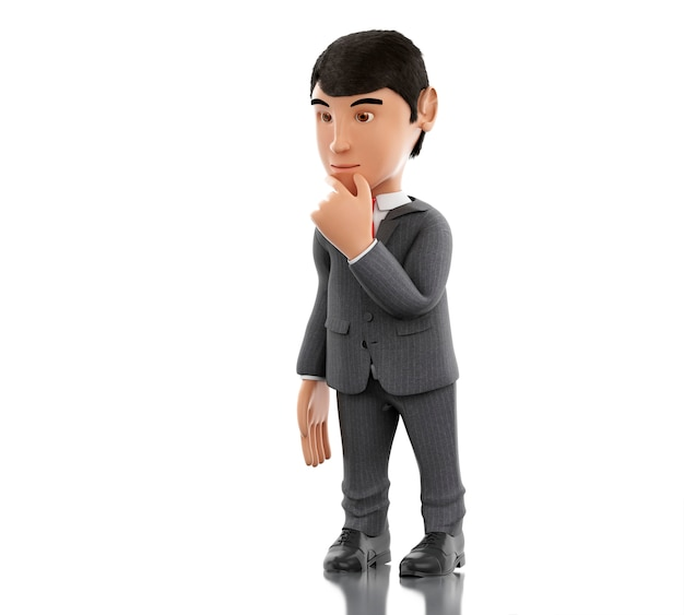 3d biznesmen myślenia. koncepcja biznesu i sukcesu.