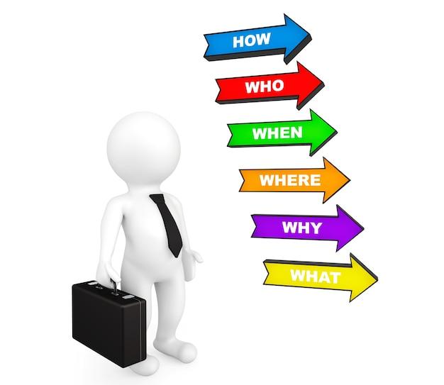 3d biznesmen osoba z kilkoma kolorowymi strzałkami z różnymi pytaniami na białym tle
