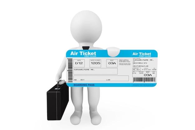 3d biznesmen przytrzymaj bilet na pokład linii lotniczej na białym tle