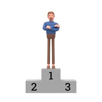 3d biznesowego mężczyzna stojak na bielu odizolowywającym. 3d ilustracji