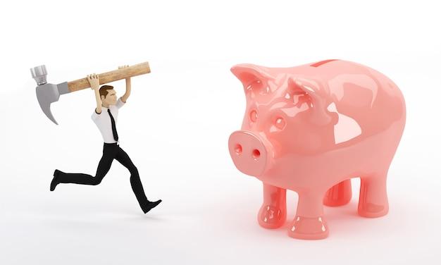 3d biznesowy mężczyzna ma zamiar łamać jego prosiątko banka młotkiem