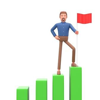 3d biznesowy mężczyzna pojęcie wzrost finansowy. ilustrują panel kontrolny z analizą finansów. 3d.