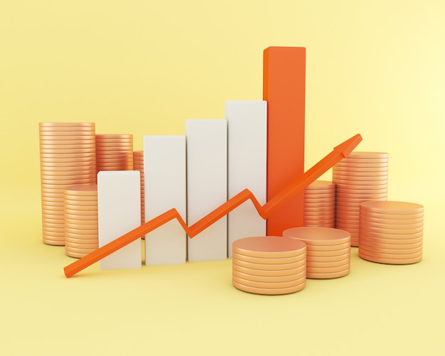 3d biznesowy wykres z monetami