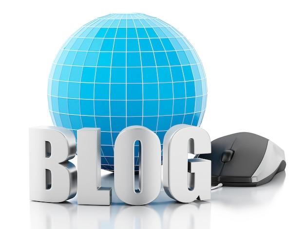 3d blog i kula ziemska na białym tle