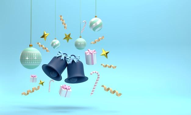 3d. bombki, dzwonki i pudełka na prezenty w świętowaniu bożego narodzenia na niebieskim tle