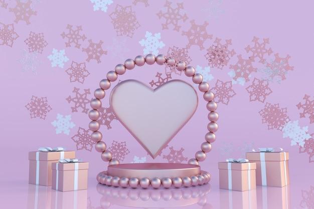 3d boże narodzenie i nowy rok różowe podium z płatkami śniegu w kształcie serca i prezentami dzień świętego walentego