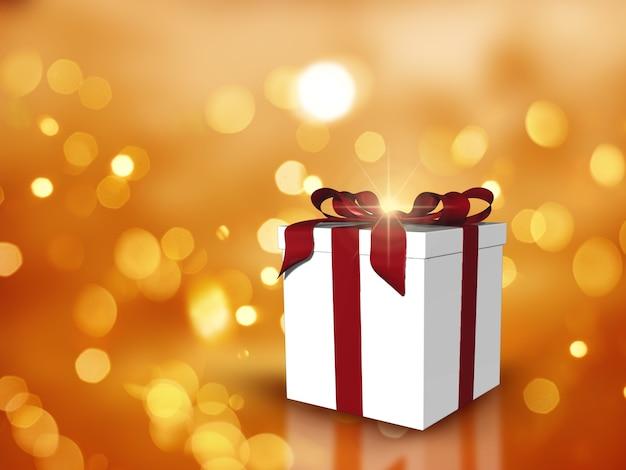 3d boże narodzenie prezent na światła bokeh