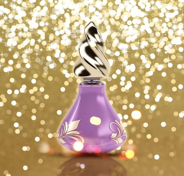 3d butelki perfum na glittery tle złota