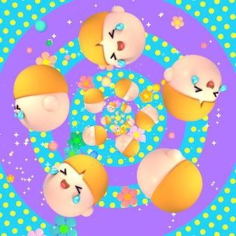 3d cartoon łzy radości stoją przed kwiatami świecącymi okręgami i pierścieniami na tle wzoru w kropki