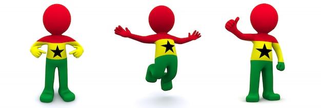 3d charakter teksturowane z flagą ghany