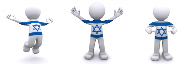 3d charakter teksturowane z flagą izraela