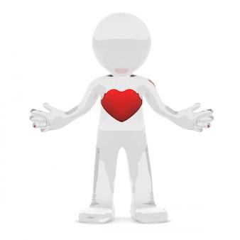3d charakter z czerwonym sercem