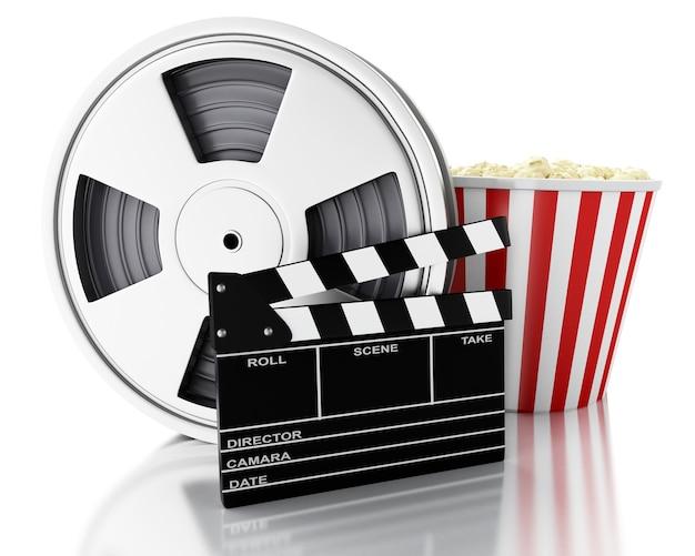 3d cinema clapper, rolka filmu i popcorn.