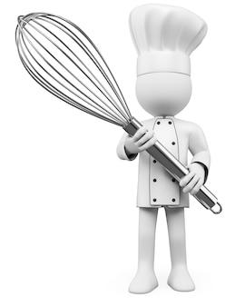 3d cook pozuje z mikserem
