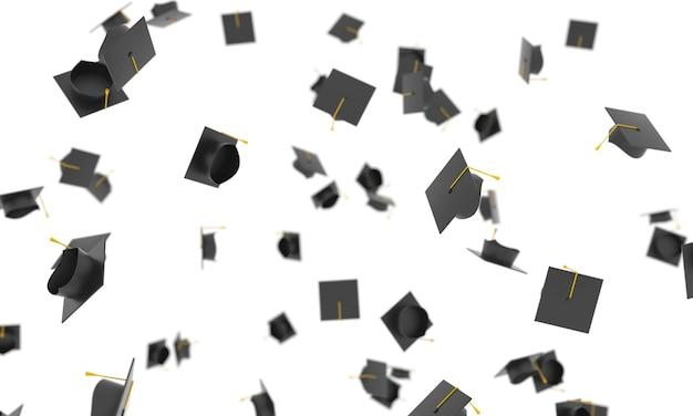 3d czapki ukończenia studiów kapelusze uniwersyteckie spadające na białym tle edukacja akademicka studia licencjackie