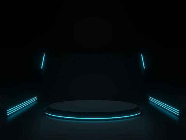 3d czarna scena naukowa z niebieskimi neonami