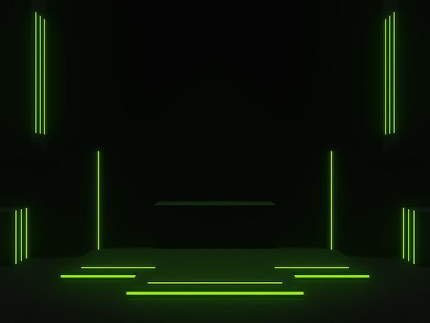 3d czarna scena naukowa z zielonymi neonami