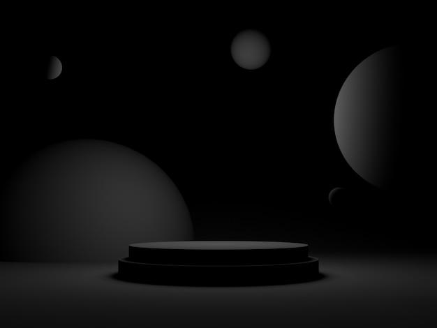 3d czarne geometryczne podium. ciemne tło.