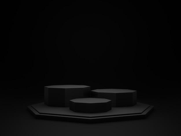 3d czarne geometryczne podium produktu. ciemne tło.
