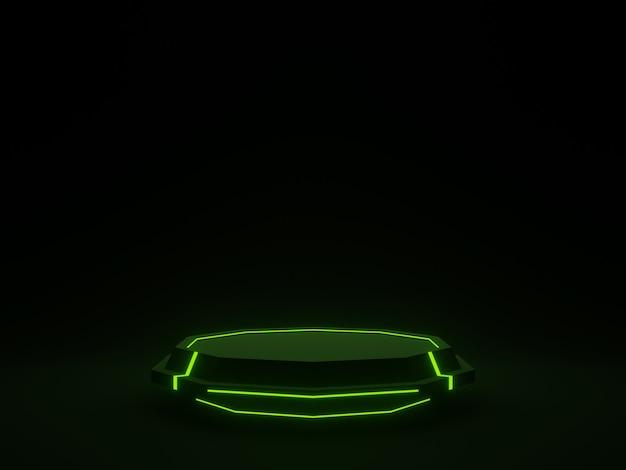 3d czarny futurystyczny stojak z zielonymi neonami naukowymi podium