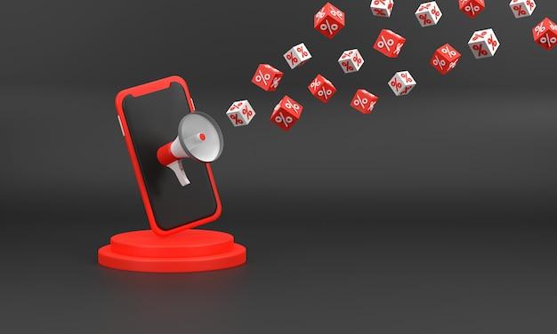 3d. czarny piątek festiwalowa sprzedaż z megafonem telefon komórkowy symbolizuje.