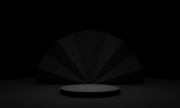 3d czarny produkt na podium ciemny stojak