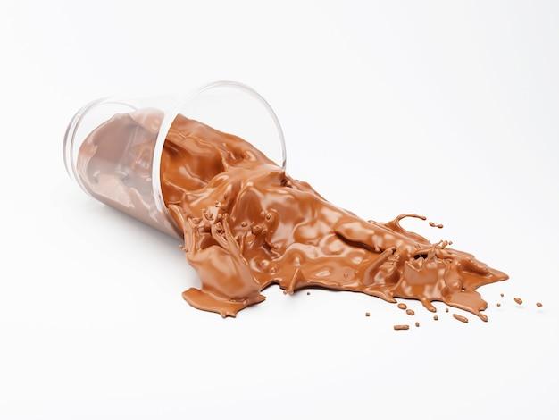 3d czekoladowy mleko bryzga z szkła