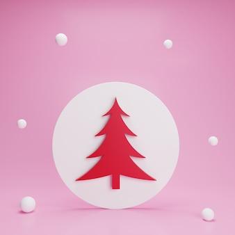 3d czerwona choinka w białym kółku w śniegu