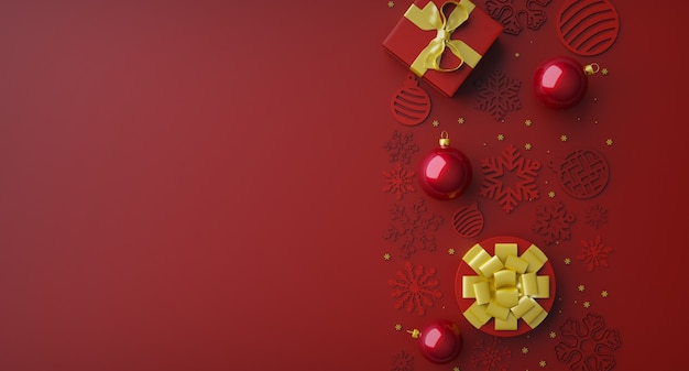 3d czerwone realistyczne bombki i ozdobne złote płatki śniegu wiszą na czerwonym tle