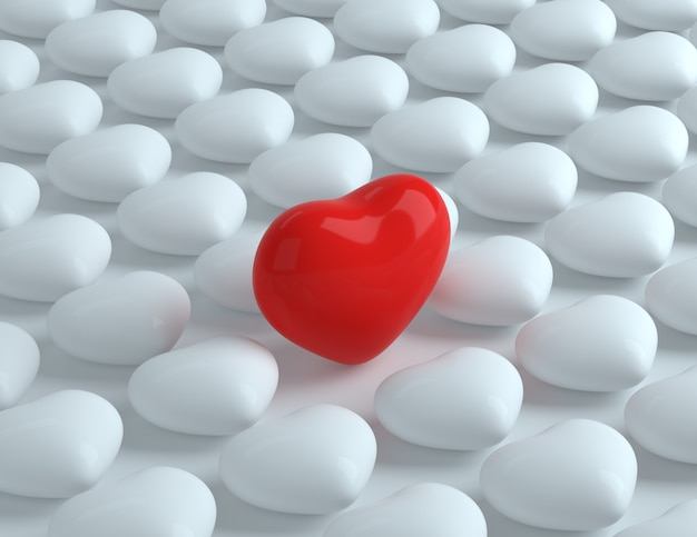 3d czerwone serce wśród białych serc