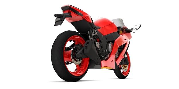 3d czerwony super sportowy motocykl na na białym tle. ilustracja 3d.