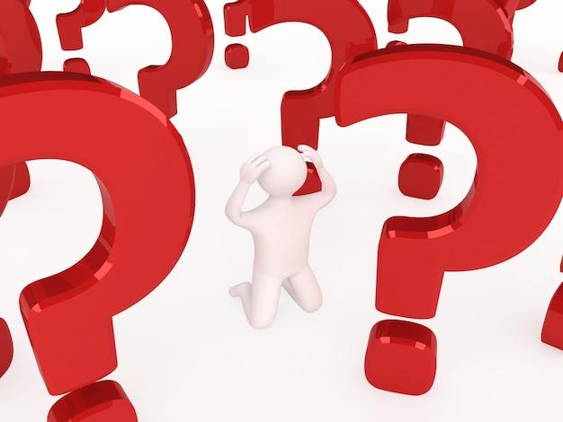 3d człowiek myśli o czymś, z dużym czerwonym znakiem zapytania za nim