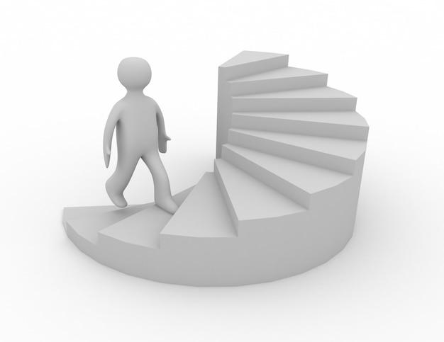 3d człowiek na schodach sukces