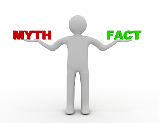 3d człowiek z faktami i mitem. 3d renderowana ilustracja