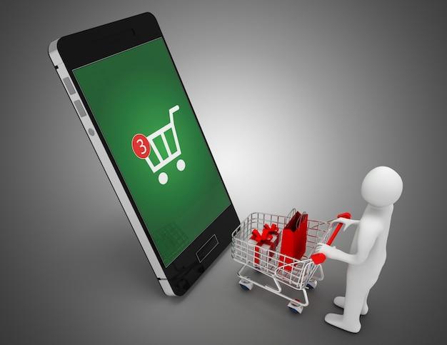 3d człowiek z koszyka i smartphone.online koncepcja zakupy. ilustracja 3d