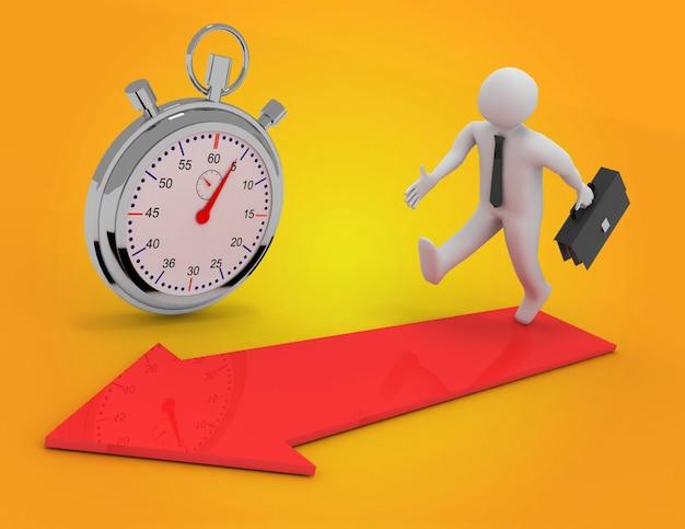 3d człowiek z teczki uruchomić czas do sukcesu. ilustracja 3d