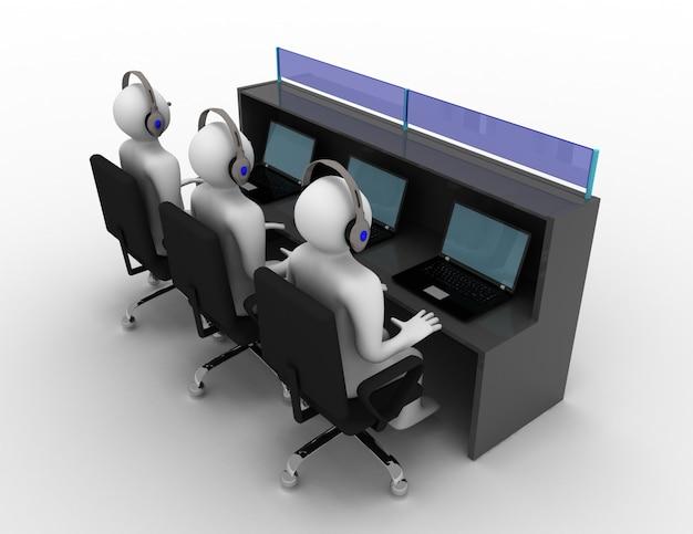 3d człowiek z zestawem słuchawkowym w biurze. 3d renderowana ilustracja