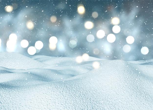 3d czynią z bożego narodzenia śnieżny krajobraz
