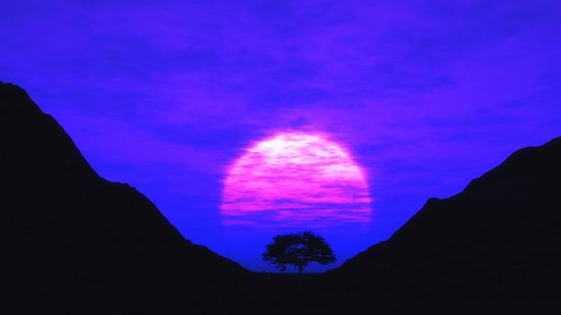 3d czynią z drzewa na zachodzie słońca