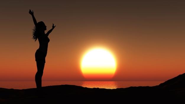 3d czynią z sylwetka kobiety na tle oceanu o zachodzie słońca
