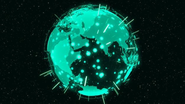 3d digital earth pokazuje koncepcję globalnej sieci