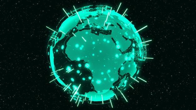 3d digital earth przedstawia koncepcję globalnego połączenia sieciowego międzynarodowych ludzi w globalnym biznesie obracających się w gwiazdach i tle przestrzeni