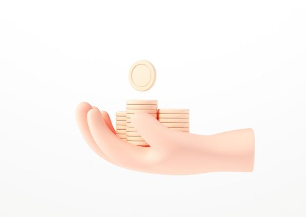 3d dłoń trzymająca stos monet na białym tle izolowania