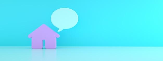 3d dom z dialogiem na niebieskim tle, renderowanie 3d, makieta panoramiczna