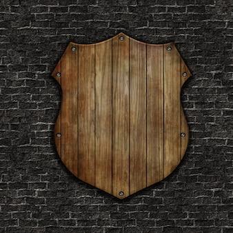 3d drewniana tarcza na grunge tekstury ścianę z cegieł