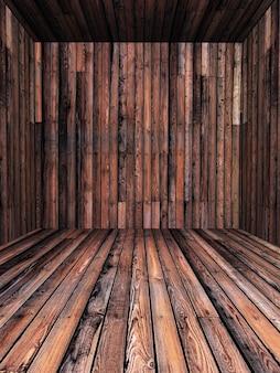 3D drewniane wnętrze pokoju
