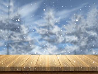 3D drewniany stół patrząc na śnieżny krajobraz