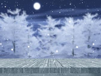 3D drewniany stół patrząc na krajobraz drzewa snowy