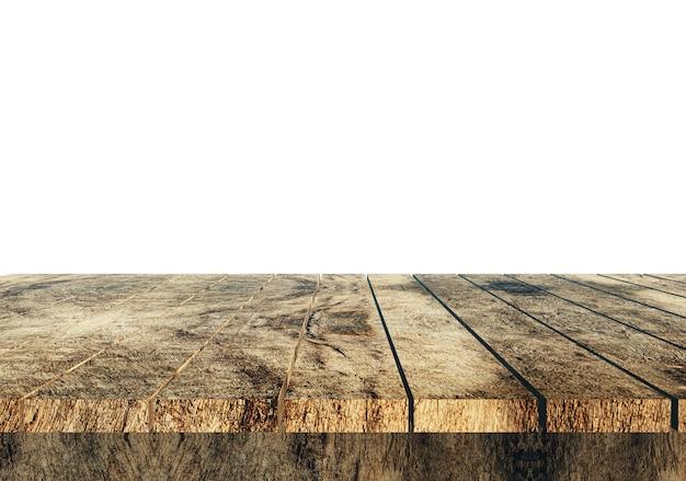 3d drewniany stół przeciw białemu tłu